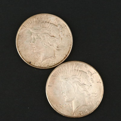 Two Silver Peace Dollars Including a 1927-D and 1934-D