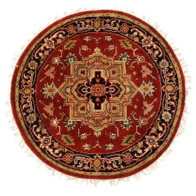 3'3 x 3'3 Hand-Knotted Indo-Persian Heriz Serapi Round Rug