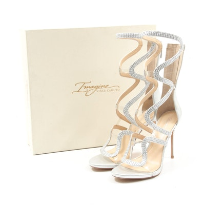 Imagine by Vince Camuto Studded High-Heel Dash Sandals in Platinum Shimmer Sand