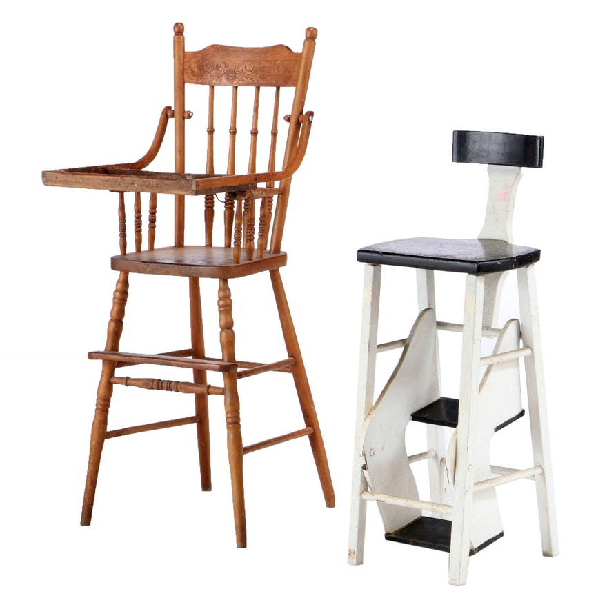 Oak Pressed-Back High Chair and Painted Step-Stool, Early to Mid 20th Century