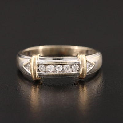 14K White Gold Diamond Channel Ring with Yellow Gold Accents