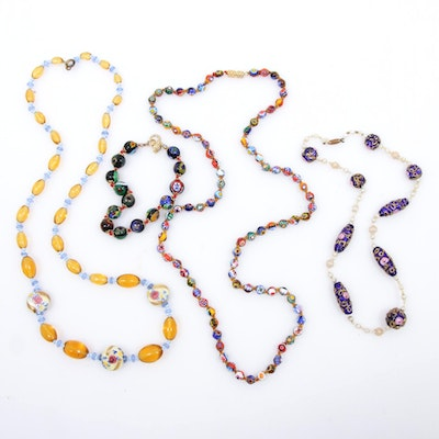 Vintage Handcrafted Glass Necklaces and Bracelet Featuring Murano Beads