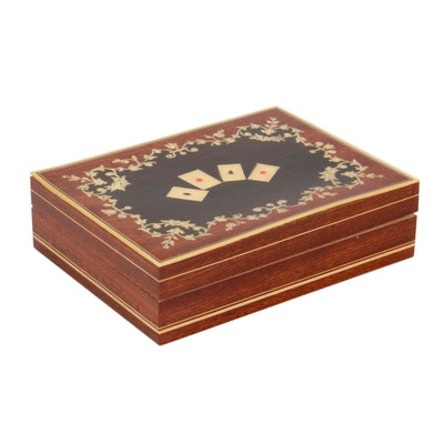 Italian Wooden Playing Card Box with Hand Inlaid Marquetry, Vintage