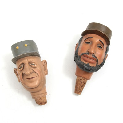 "Achatit ""Charles De Gaulle and ""Fidel Castro"" Bottle Stoppers"