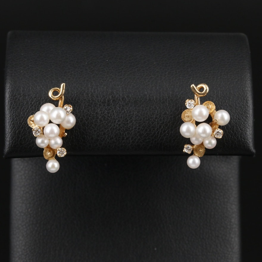 14K Yellow Gold Cultured Pearl and Diamond Grape Cluster Earrings