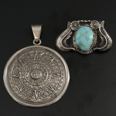Mexican and Southwestern Sterling Silver Turquoise and Aztec Calendar Pendants