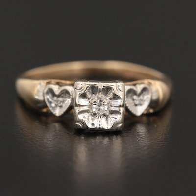 Vintage 14K Yellow Gold Diamond Ring with Heart Motif and White Gold Accents