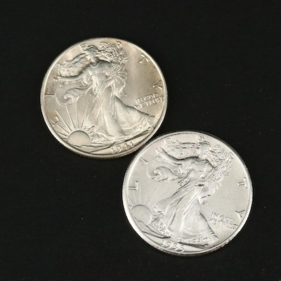 Two Walking Liberty Silver Half Dollars Including a 1933-S and 1941