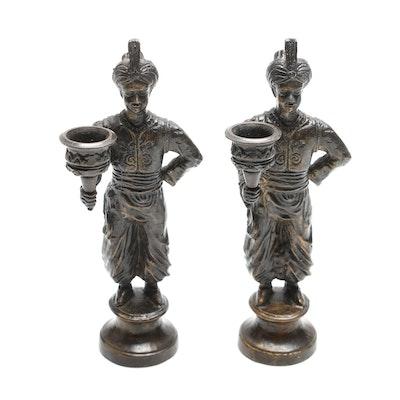 Thai Figural Brass Candlesticks