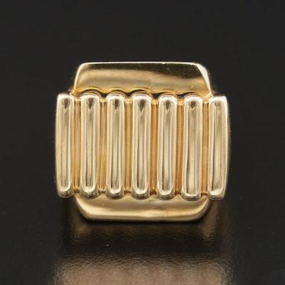 18K Gold Square Center Ring