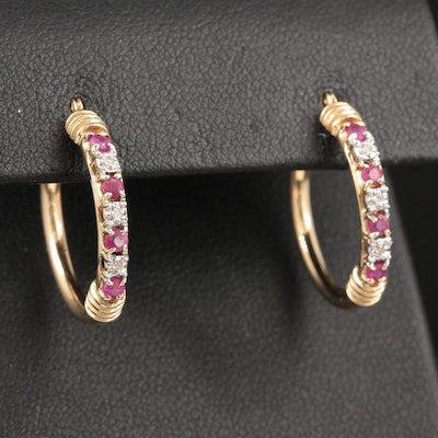 10K Yellow Gold Ruby and Diamond Hoop Earrings