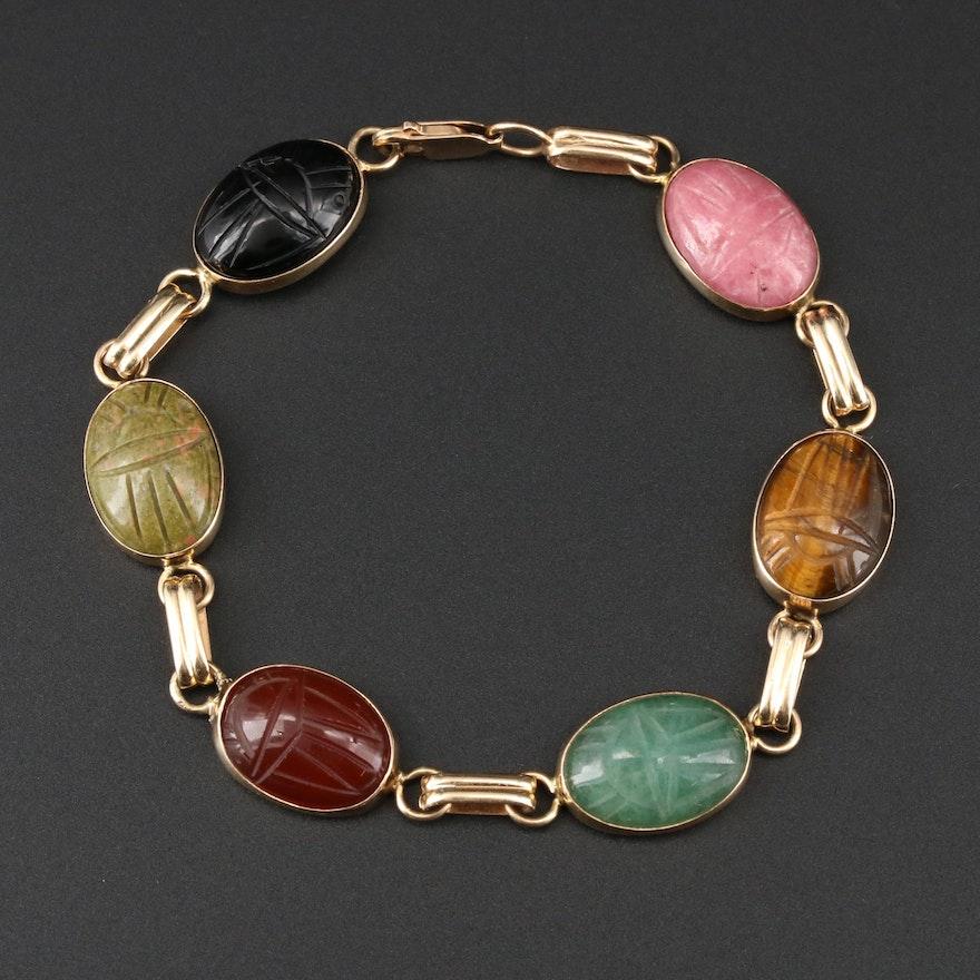 Vintage 14K Yellow Gold Gemstone Scarab Bracelet