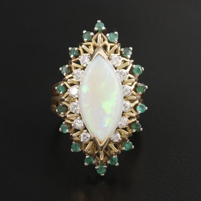 Vintage 14K Yellow Gold Opal, Diamond and Emerald Navette Ring
