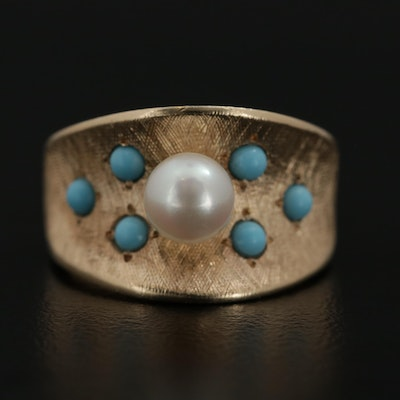 14K Yellow Gold Pearl and Glass Ring with Florentine Finish