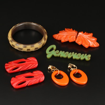 Circa 1930s Carved Bakelite Buckle with Bangle Bracelet, Earrings and Brooch