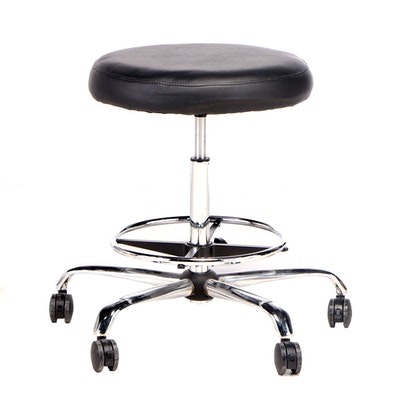 Oversized Chrome and Vinyl Stool on Casters