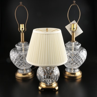 """Waterford Crystal """"Lismore"""" Table Lamp and a Pair of Waterford Table Lamps"""