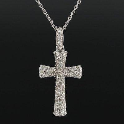 10K White Gold 1.46 CTW Diamond Cross Pendant Necklace