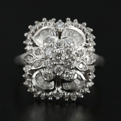 14K White Gold 1.37 CTW Diamond Ring