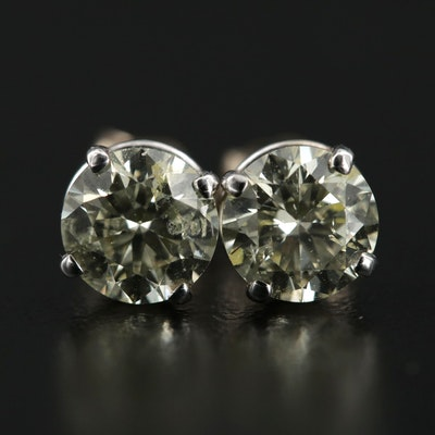 14K White Gold 2.10 CTW Stud Earrings