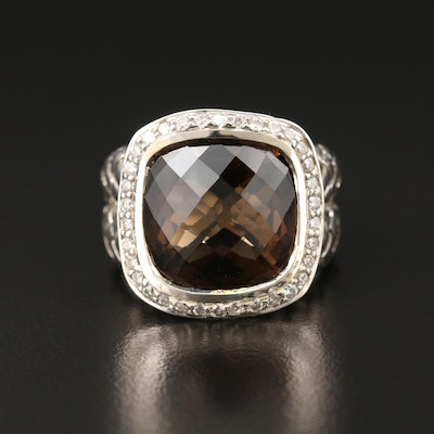 Scott Kay Sterling Silver Smoky Quartz and Diamond Basketweave Ring