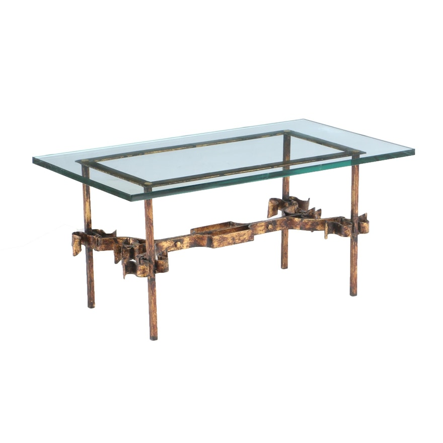 Gilt-Painted Wrought Iron Coffee Table, Mid 20th Century