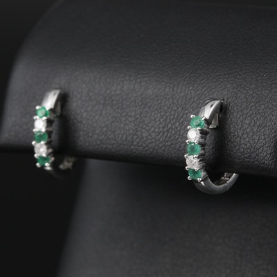14K White Gold Emerald and Diamond Huggie Earrings