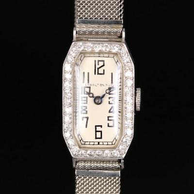 Glycine for Charlton & Co. Platinum and Diamond Wristwatch with 14K Bracelet