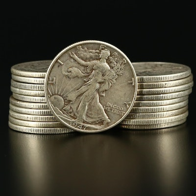 Twenty Walking Liberty Silver Half Dollars Ranging from 1937-1947
