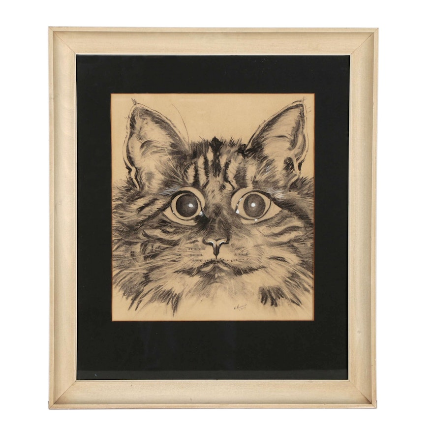 Charcoal Portrait Drawing of Cat, Mid 20th Century