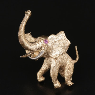 Vintage 18K Yellow Gold and Ruby Elephant Brooch with White Gold Accents