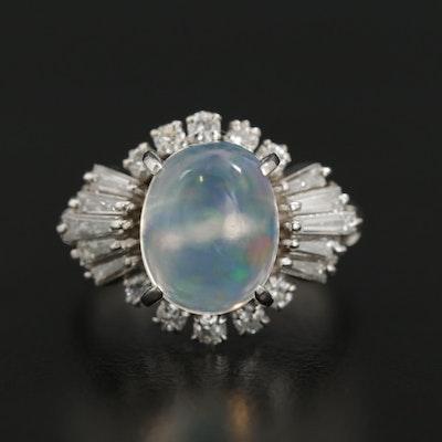 Platinum Contra Luz Opal and Diamond Ring