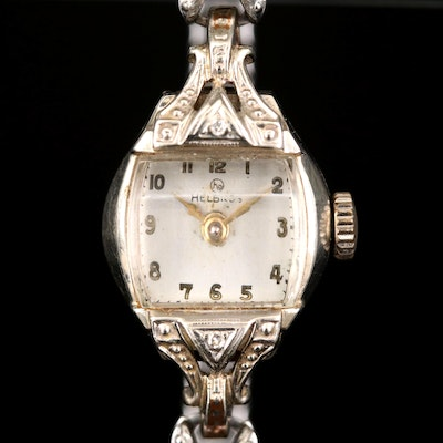 Helbros 14K White Gold and Diamonds Stem Wind Wristwatch, Vintage
