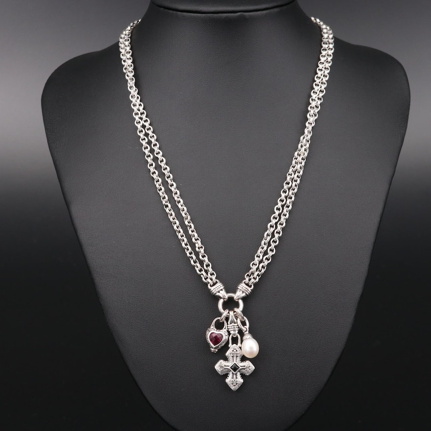 Scott Kay Sterling Silver Rhodolite Garnet, Pearl and Black Onyx Necklace