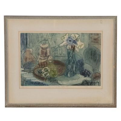 "Ruth Kerkovius Aquatint Etching ""Rose and Earthen Coffee Pot"", 1964"