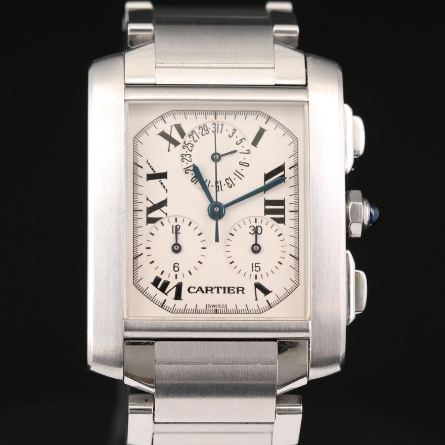 Cartier Tank Francaise Stainless Steel Chronograph Wristwatch