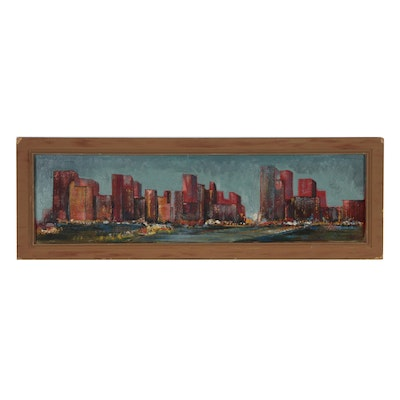 Abstract Cityscape Oil Painting, Mid 20th Century