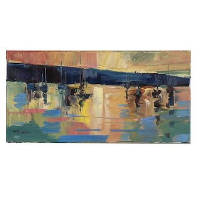 "Jose Trujillo Oil Painting ""Sunset Sails"", 2019"