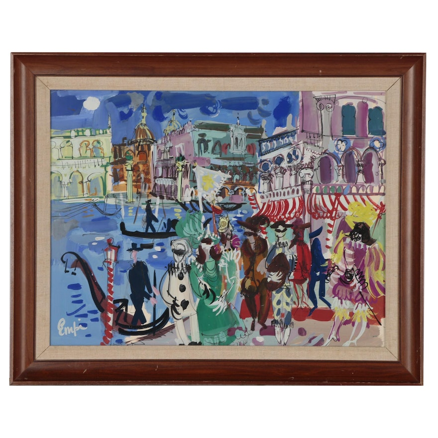 Maurice Empi Modernist Gouache Painting of Parisian Night Life