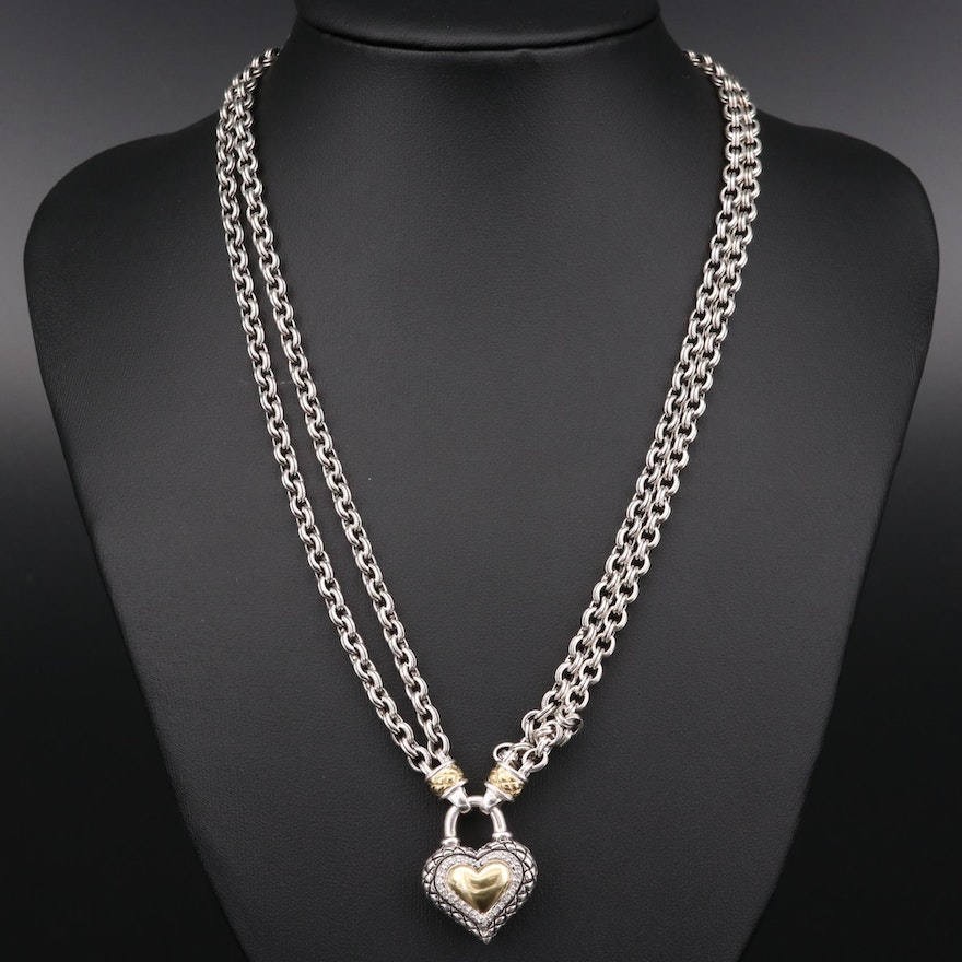 Scott Kay Sterling Silver Diamond Heart Necklace with 18K Gold Accents