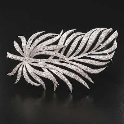 Vintage Platinum 2.34 CTW Diamond Feather Brooch