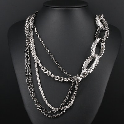 Stephen Webster Sterling Silver Multi-Strand Chain Necklace