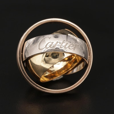 Cartier 18K Yellow, Rose and White Gold Kinetic Trinity Band