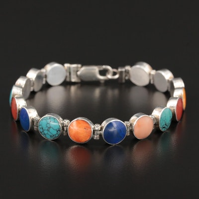 Sterling Silver Turquoise, Spiny Oyster, Lapis Lazuli and Coral Link Bracelet