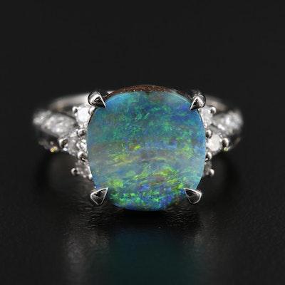 Platinum Boulder Opal and Diamond Ring