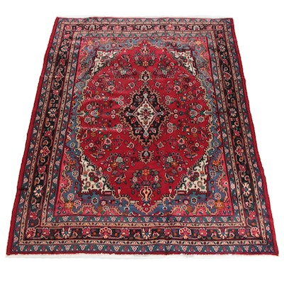 7'0 x 9'10 Hand-Knotted Persian Yazd Wool Rug