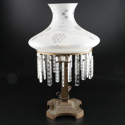 Victorian Frosted Tapered Shade with Prisms, Brass Table Lamp, Early 20th C.