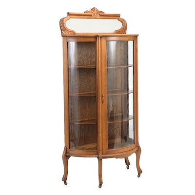 Late Victorian Oak Demilune Display Cabinet with Mirror, Late 19th/Early 20th C.