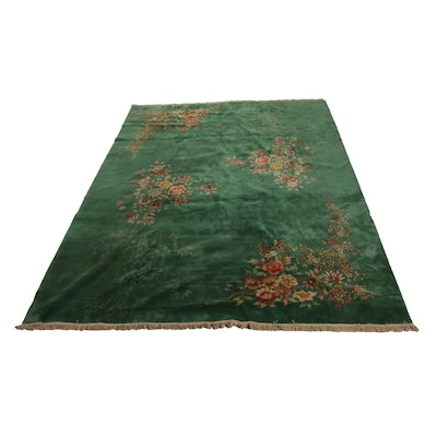 9'9 x 13'8 Hand-Knotted Chinese Carved Floral Rug