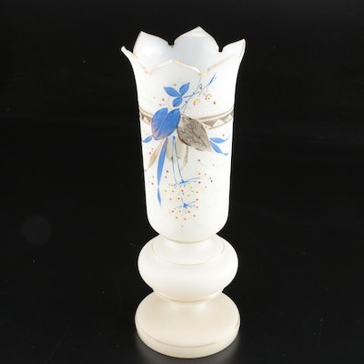 Bristol Style Hand-Painted Glass Vase, Vintage